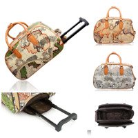 New Travel Trolley Holdall World Map Weekend Trolley Bag Hand Luggage Cabin Size