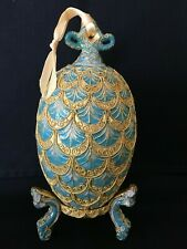 Vintage Faberge Type Gold And Blue Pine Cone Decorative Egg