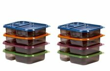 8 Meal Prep Containers 3 Compartment Plastic Bento Food Storage