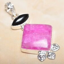 "Handmade Cherry Ruby Natural Gemstone 925 Sterling Silver Pendant 2.5"" #P10337"