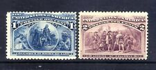 US Stamps - #230-231 - MH - 1&2 cent 1893 Columbian Expo Issues - CV $26