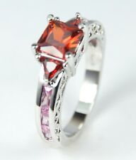 Women's 10 Carat White Gold filled Red Pink Crystal Ring Jewellery UK Size P