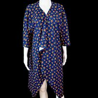 LuLaRoe Shirley Open Cardigan Draped Kimono Duster Blue Floral | Women's Large