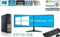 DELL Dual Screen Core i7 DESKTOP TOWER PC&LCD WIN10 & 8GB 16GB 2TB 500GB SSD