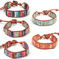 la prière bracelet en cuir. 7 chakra la pierre naturelle perles bracelet tube