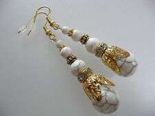 Vintage Art Deco Style White Turquoise Long Earrings Prom Boho Bridal