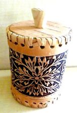 Handmade Small Wooden Birch Bark Container/Beautiful Detail