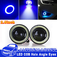2pcs 2.5'' Car Head Lamp Projector LED Fog Light Blue COB Halo Angel Eye Ring