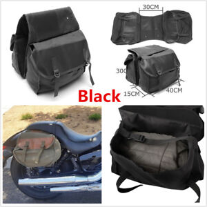Black Motorcycle High Capacity Rear Seat Bag Luggage Bag Saddle Bags Accessories