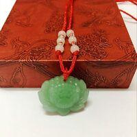3 PCS natürliche grüne Jade Lotus Anhänger Halskette Mode Glücksbringer Neu A0K4