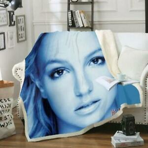 Britney Spears 3D Print Fashion Sherpa Blanket Sofa Couch Quilt Cover Throw J201