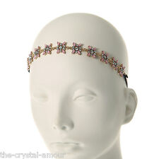 CLAIRE'S ACCESSORIES, PINK & GOLD CRYSTAL FLOWER HEADWRAP - WEDDING, BRIDESMAID
