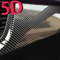 "5D Carbon Fiber Car Vinyl Wrap Ultra Gloss Sticker Decal Black Graphics 12x60"""
