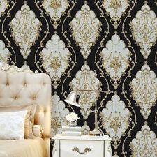 10M Black Gold Damask Waterproof Wallpaper Murals Embossed Textured PVC Roll