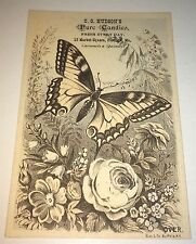 Antique Victorian American Butterfly Art Advertising Candy! Maine Trade Card! US