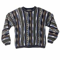 Tundra Bachrach Mens Large L Sweater 90s Biggie Hip Hop Size Textured 3D Vintage