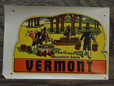 ORIGINAL VINTAGE TRAVEL DECAL VERMONT PILGRIMS SYRUP MAKING THANKSGIVING OLD RV