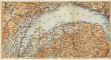 1930 ORIGINAL VINTAGE MAP OF LAKE GENEVA LAC LEMAN / FRANCE / SWITZERLAND