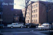 -#G2 yy Amateur 35mm Slide-Photo- Building-Cars - Red Kodachrome 1950s