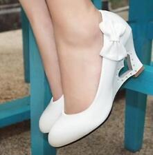 Sweet Women Patent Leather  Lolita Sweet Wedge Heart Hollow Heel Bow Tie Shoe Sz