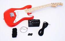 1/2 KINDER guitare électrique Lot avec amplificateur et accessoires, rouge