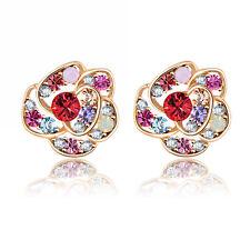 VPKJewelry 18k gold plated Austrian crystal Opal Ruby Multi color stud earrings