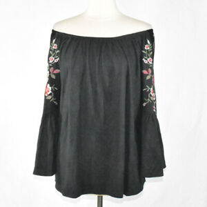 Umgee Boho Black Floral Off Shoulder Blouse XL Women's Bell Sleeve