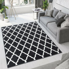 Black Moroccan Trellis Rug Small Large Apartment Mats Geometric Living Room Rugs