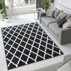 Black Moroccan Trellis Rug Small Large Apartment Mats Geometric Living Room Rugs