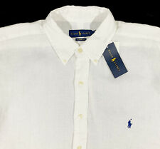 Men's RALPH LAUREN White Short Sleeve Linen Shirt 2XB 2X 2XL BIG NWT NEW NiCe!