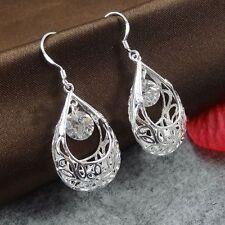 Elegant Women 925 Silver Sterling Ear Hook Crystal Rhinestone Hoop Earrings Gift