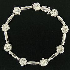 "14K White Gold 7"" 4.65ctw Round Diamond Flower Cluster Bar Link Tennis Bracelet"