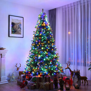 8Ft Pre-Lit Artificial Christmas Tree Premium Hinged w/ 750 LED Lights & Stand