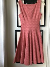 $1200 ALAÏA Salmon Floral Jacquard Stretch Knit Flared Hem Mini Dress 38
