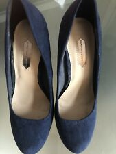 Dorothy Perkins Suede Navy High Heeled Shoes Size 5
