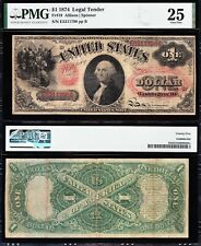 "Nice RARE Bold VF 1874 $1 ""PINK FLORAL SEAL"" Legal Tender Note! PMG 25! E5211798"