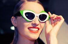 LINDA FARROW Prabal Gurung Cat Eye Mask Black White Green PG17 Sunglasses