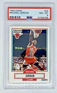 1990-91 Fleer Michael Jordan #26 Classic MJ Dunk Chicago Bulls PSA 8 NM Mint
