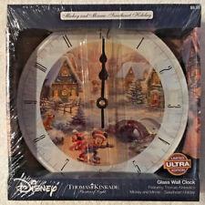 Disney Glass Wall Clock Thomas Kinkade Mickey Minnie Mouse Limited Edition - New