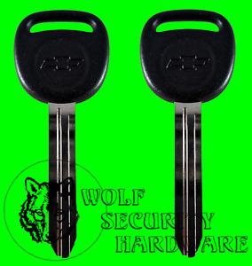 Lot of Two (2) Chevy Bowtie Logo OEM Uncut Key Blank Black Plastic Head 692365