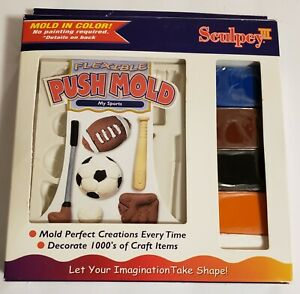 SCULPEY FLEXIBLE Push Mold MY SPORTS Starter Set with 5 Blocks of Clay New