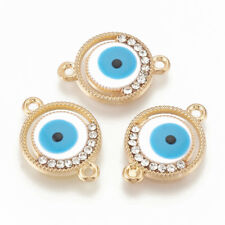 100pcs Clear Rhinestones Enamel Blue Evil Eye Alloy Pendants Charm Link Finding