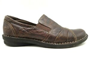 Clarks Bendables Crinkle Print Leather Casual Slip On Loafers Shoes Womens 8.5 M