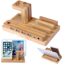Bamboo Wood Charging Stand 4USB Port Charger Mount Holder For iPhone 7 for ipad