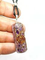 Orgone Amethyst Pendant Gemstone EMF Copper Orgonite Protection Cord Necklace