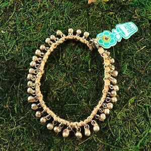 HOTI Hemp Handmade Silver Bali Boho Bells Jingle Anklet Chic Ankle Bracelet NWT