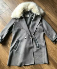 Ladies Size 6 River Island Grey Faux Suede Coat Faux Fur Collar Vgc