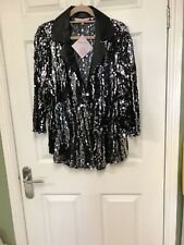 Ladies Black &silver Sequin Jacket Button Fastening Size 22-24 By Michele Hope