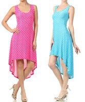 New Women's Summer High Low Asymmetrical Hem Polka Dot Sleeveless Sun Tea Dress