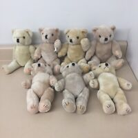 Vintage Jointed Teddy Bear Lot Of 7 Fully Possible Bears Various Colors AR191